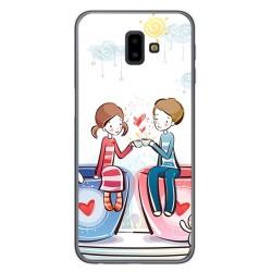 Funda Gel Tpu para Samsung Galaxy J6+ Plus Diseño Cafe Dibujos
