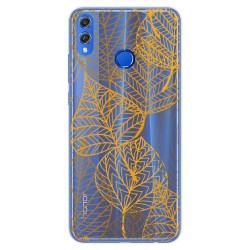 Funda Gel Transparente para Huawei Honor 8X Diseño Hojas Dibujos