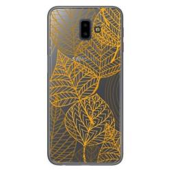 Funda Gel Transparente para Samsung Galaxy J6+ Plus Diseño Hojas Dibujos
