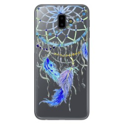 Funda Gel Transparente para Samsung Galaxy J6+ Plus Diseño Plumas Dibujos