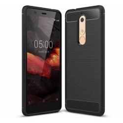 Funda Gel Tpu Tipo Carbon Negra para Nokia 5.1