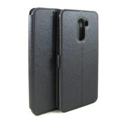 Funda Soporte Piel Negra para Xiaomi Pocophone F1 Flip Libro