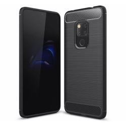 Funda Gel Tpu Tipo Carbon Negra para Huawei Mate 20