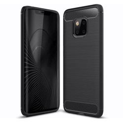 Funda Gel Tpu Tipo Carbon Negra para Huawei Mate 20 Pro