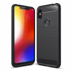 Funda Gel Tpu Tipo Carbon Negra para Motorola One