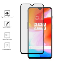 Protector Cristal Templado Frontal Completo Negro para Oneplus 6T Vidrio