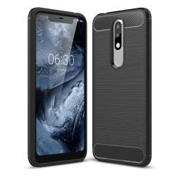 Funda Gel Tpu Tipo Carbon Negra para Nokia 5.1 Plus