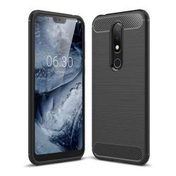 Funda Gel Tpu Tipo Carbon Negra para Nokia 7.1