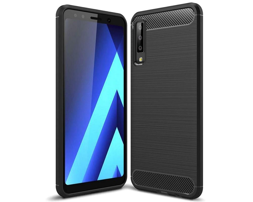 Funda Gel Tpu Tipo Carbon Negra para Samsung Galaxy A7 (2018)