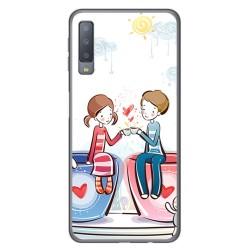 Funda Gel Tpu para Samsung Galaxy A7 (2018) Diseño Café Dibujos