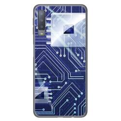 Funda Gel Tpu para Samsung Galaxy A7 (2018) Diseño Circuito Dibujos
