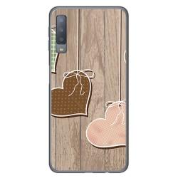 Funda Gel Tpu para Samsung Galaxy A7 (2018) Diseño Corazones Madera Dibujos