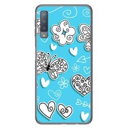 Funda Gel Tpu para Samsung Galaxy A7 (2018) Diseño Mariposas Dibujos