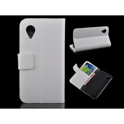 Funda Soporte Google Nexus 5 Stand Piel Blanca