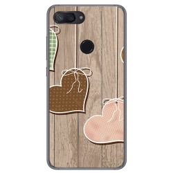 Funda Gel Tpu para Xiaomi Mi 8 Lite Diseño Corazones Madera Dibujos