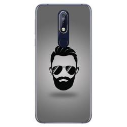 Funda Gel Tpu para Nokia 7.1 Diseño Barba Dibujos