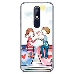 Funda Gel Tpu para Nokia 7.1 Diseño Café Dibujos