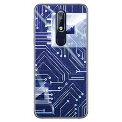 Funda Gel Tpu para Nokia 7.1 Diseño Circuito Dibujos