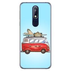 Funda Gel Tpu para Nokia 7.1 Diseño Furgoneta Dibujos