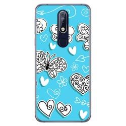 Funda Gel Tpu para Nokia 7.1 Diseño Mariposas Dibujos