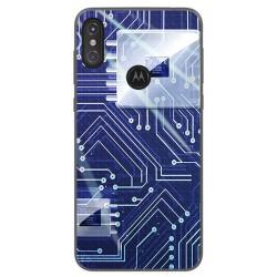 Funda Gel Tpu para Motorola One Diseño Circuito Dibujos