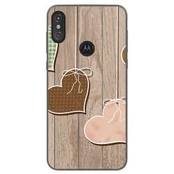 Funda Gel Tpu para Motorola One Diseño Corazones Madera Dibujos