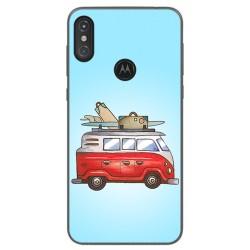 Funda Gel Tpu para Motorola One Diseño Furgoneta Dibujos