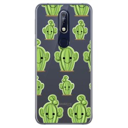 Funda Gel Transparente para Nokia 7.1 diseño Cactus Dibujos