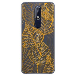 Funda Gel Transparente para Nokia 7.1 diseño Hojas Dibujos