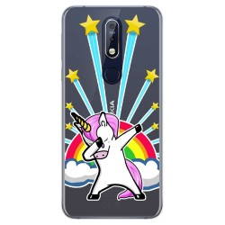 Funda Gel Transparente para Nokia 7.1 diseño Unicornio Dibujos