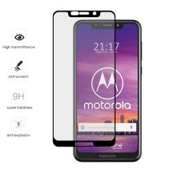Protector Cristal Templado Frontal Completo Negro para Motorola One Vidrio