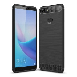 Funda Gel Tpu Tipo Carbon Negra para Huawei Y9 2018