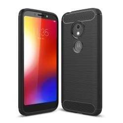 Funda Gel Tpu Tipo Carbon Negra para Motorola Moto E5 Play