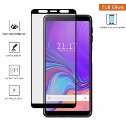 Protector Cristal templado completo FULL GLUE negro para Samsung Galaxy A7 (2018) vidrio