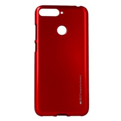 Funda Gel Tpu Mercury i-Jelly Metal para Huawei Honor 7A / Y6 2018 color Roja
