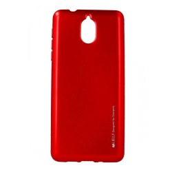 Funda Gel Tpu Mercury i-Jelly Metal para Nokia 3.1 color Roja