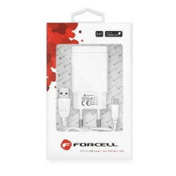 Cargador de Red con Conector USB 2,4A Tipo C Función Quick Charge 3.0 Forcell