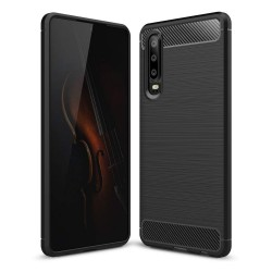 Funda Gel Tpu Tipo Carbon Negra para Huawei P30