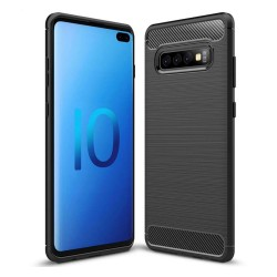 Funda Gel Tpu Tipo Carbon Negra para Samsung Galaxy S10 Plus