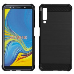 Funda Gel Tpu Anti-Shock Carbon Negra para Samsung Galaxy A7 (2018)