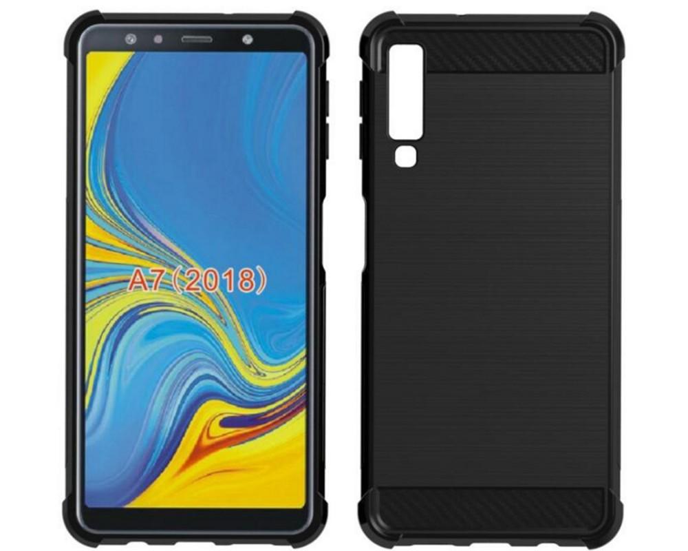 Funda Gel Tpu Anti-Shock Carbon Negra para Samsung Galaxy A7 (2018)