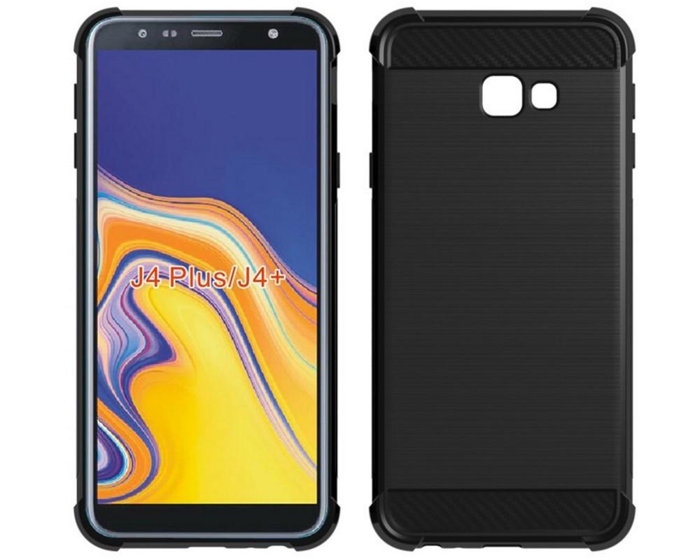 Funda Gel Tpu Anti-Shock Carbon Negra para Samsung Galaxy J4+ Plus