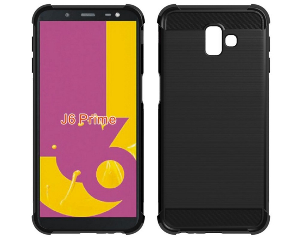 Funda Gel Tpu Anti-Shock Carbon Negra para Samsung Galaxy J6+ Plus