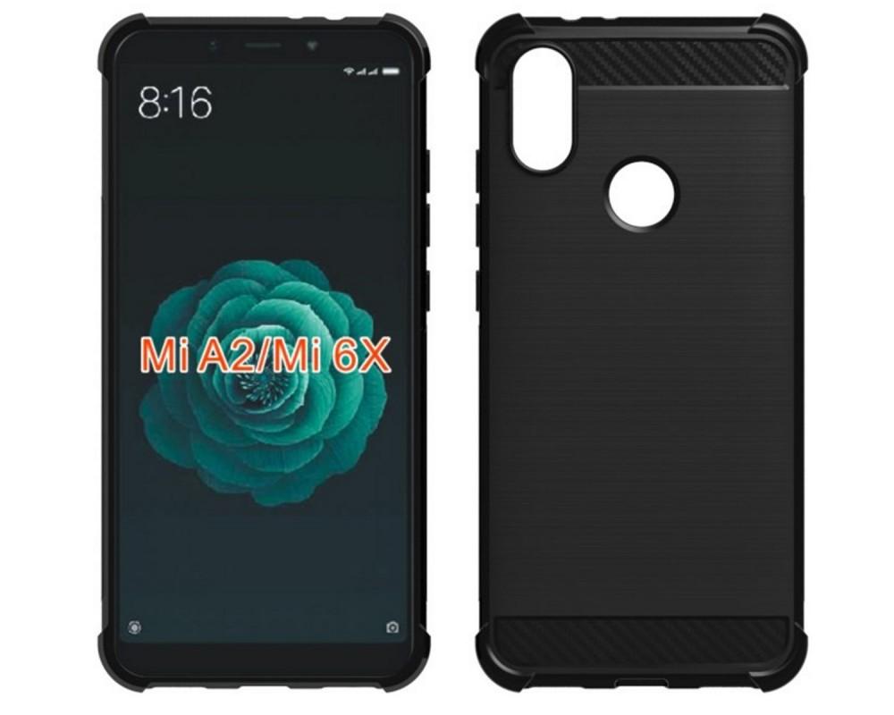 Funda Gel Tpu Anti-Shock Carbon Negra para Xiaomi Mi 6X / Mi A2
