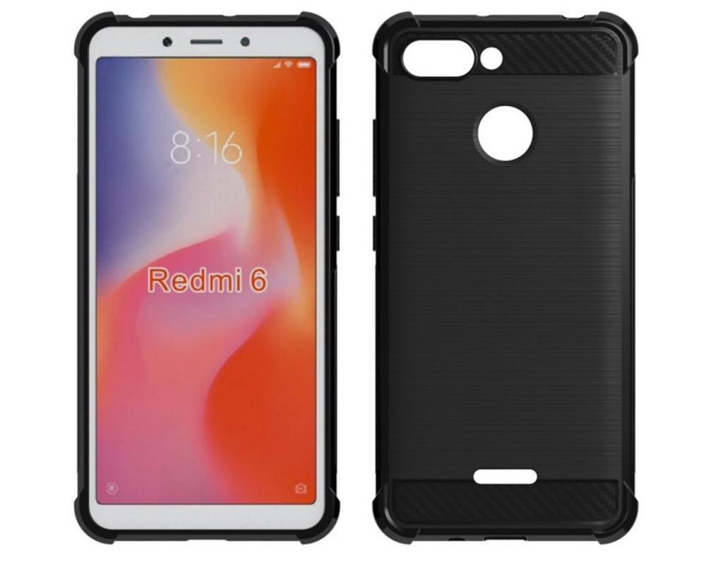 Funda Gel Tpu Anti-Shock Carbon Negra para Xiaomi Redmi 6