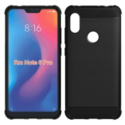 Funda Gel Tpu Anti-Shock Carbon Negra para Xiaomi Redmi Note 6 Pro