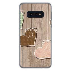 FUNDA de GEL TPU para Samsung Galaxy S10e diseño Corazones Madera Dibujos