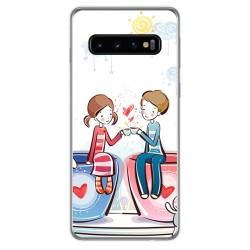 FUNDA de GEL TPU para Samsung Galaxy S10 Plus diseño Café Dibujos