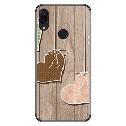 FUNDA de GEL TPU para Xiaomi Redmi Note 7 diseño Corazones Madera Dibujos