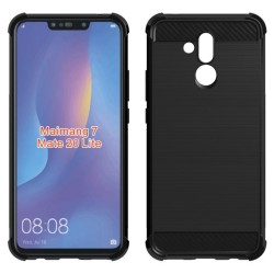 Funda Gel Tpu Anti-Shock Carbon Negra para Huawei Mate 20 Lite